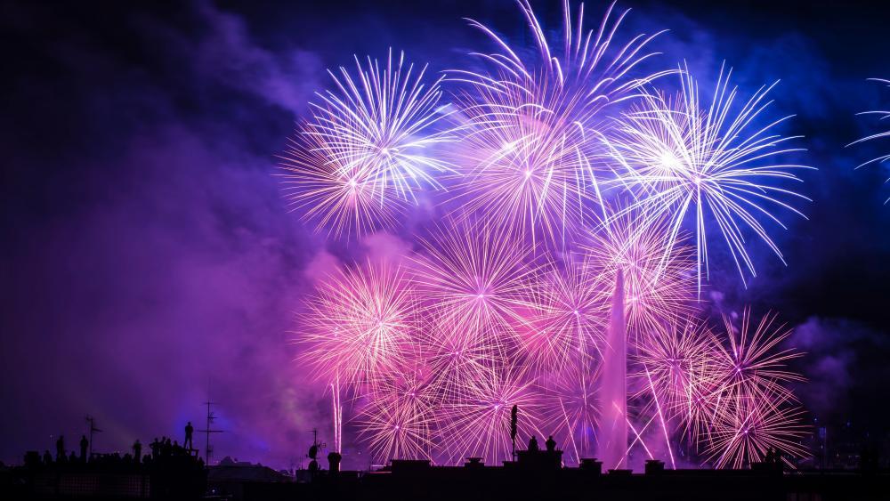 Fireworks in Geneva wallpaper