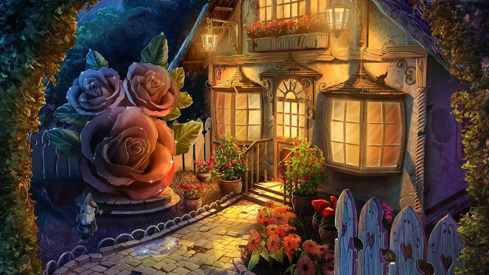 Fantasy cottage with a dreamy garden wallpaper