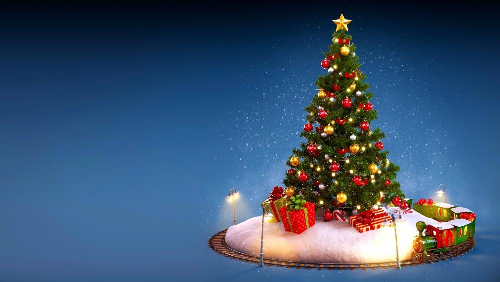 Toy train around the Christmas tree wallpaper