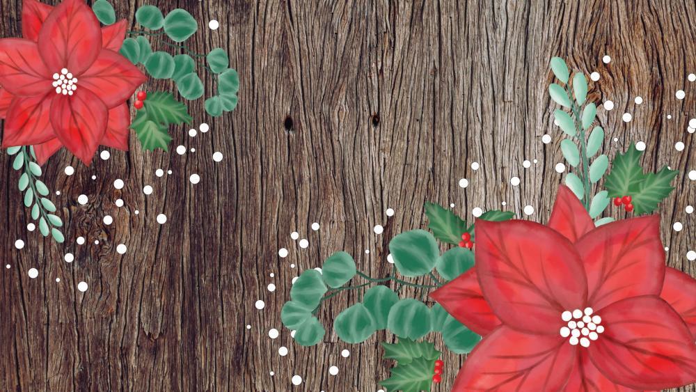 Red flower pattern on a wood plank wallpaper