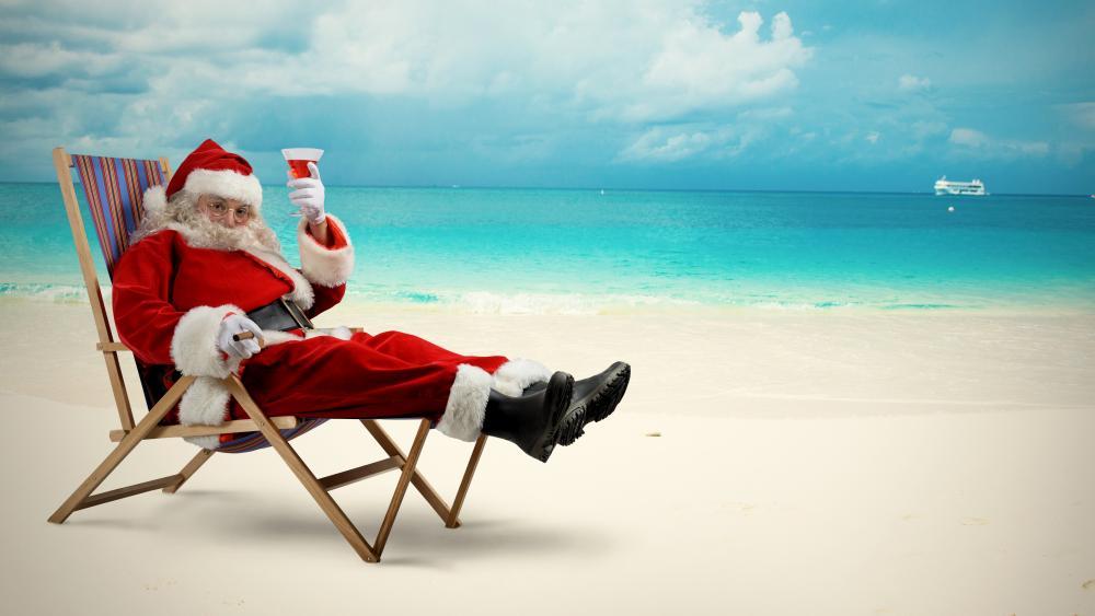 Santa on the beach wallpaper