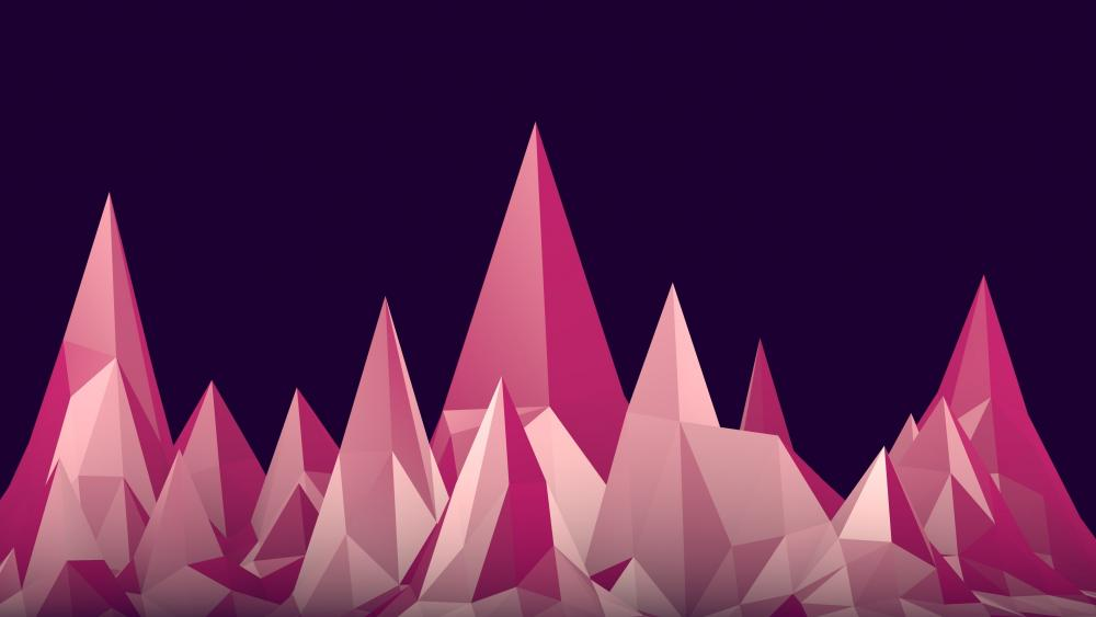 Pink low poly mountains wallpaper