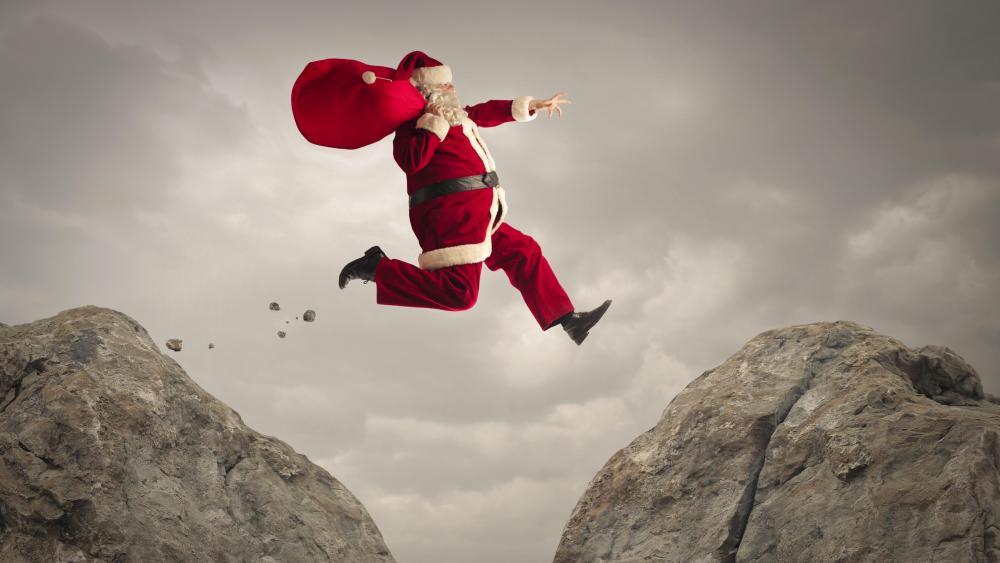 Jumping Santa wallpaper