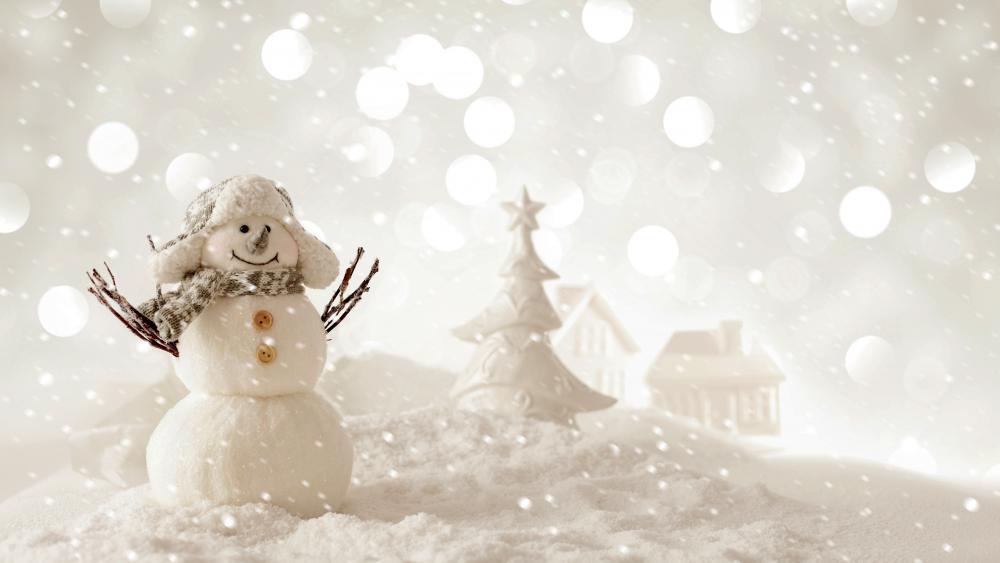 Snowman in ushanka hat wallpaper