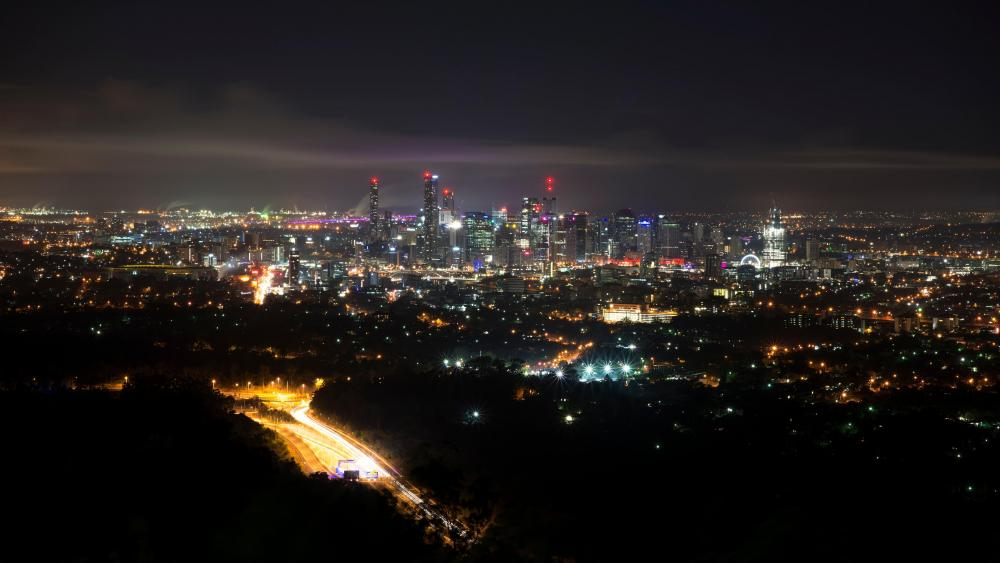 Brisbane Nighttime Cityscape wallpaper