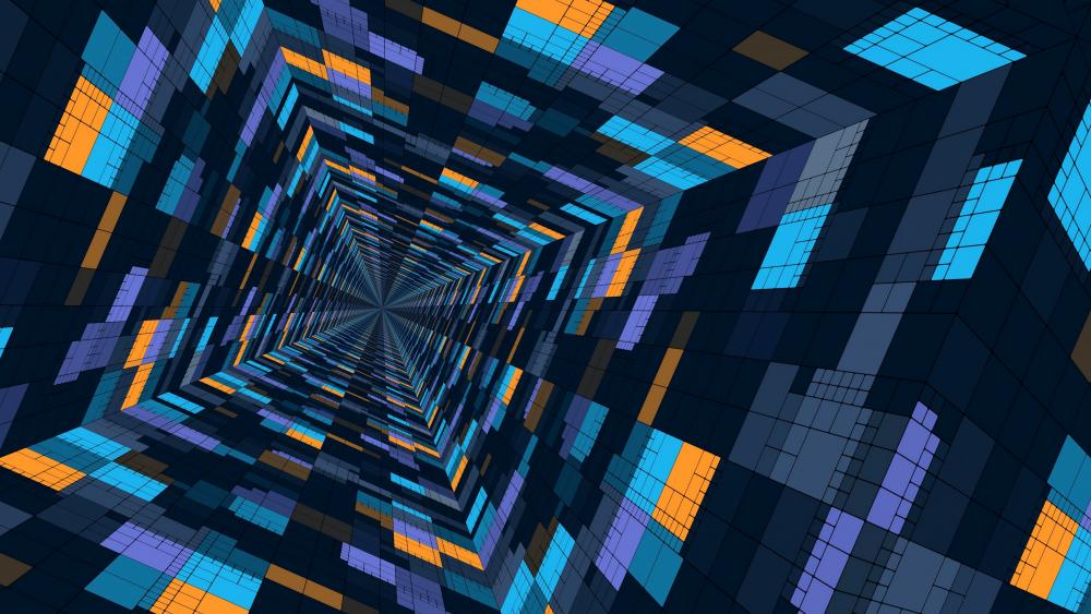 3D abstract tunnel wallpaper