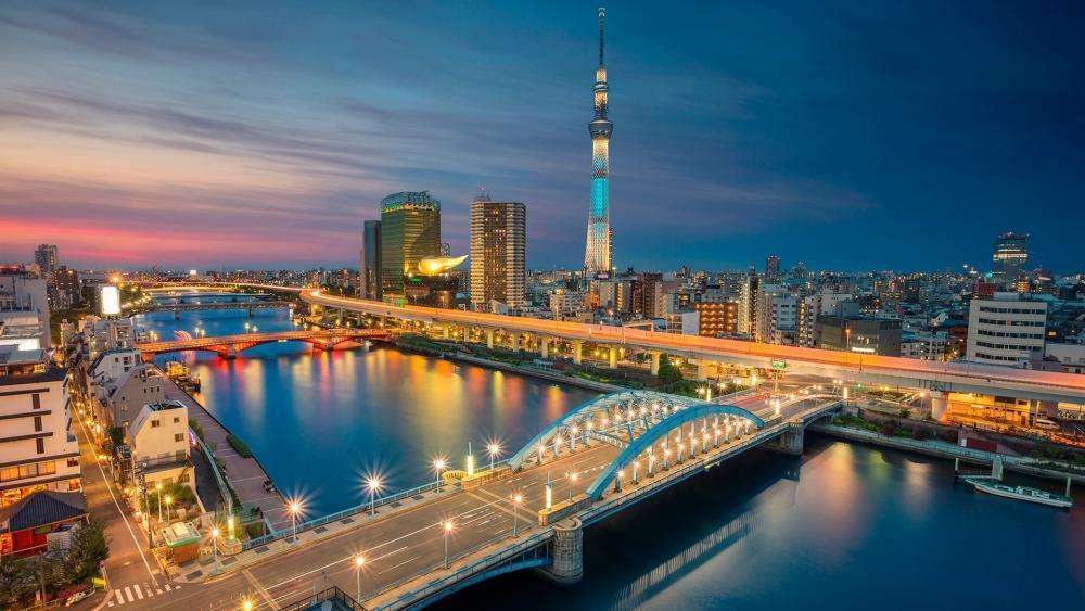 Tokyo city lights wallpaper