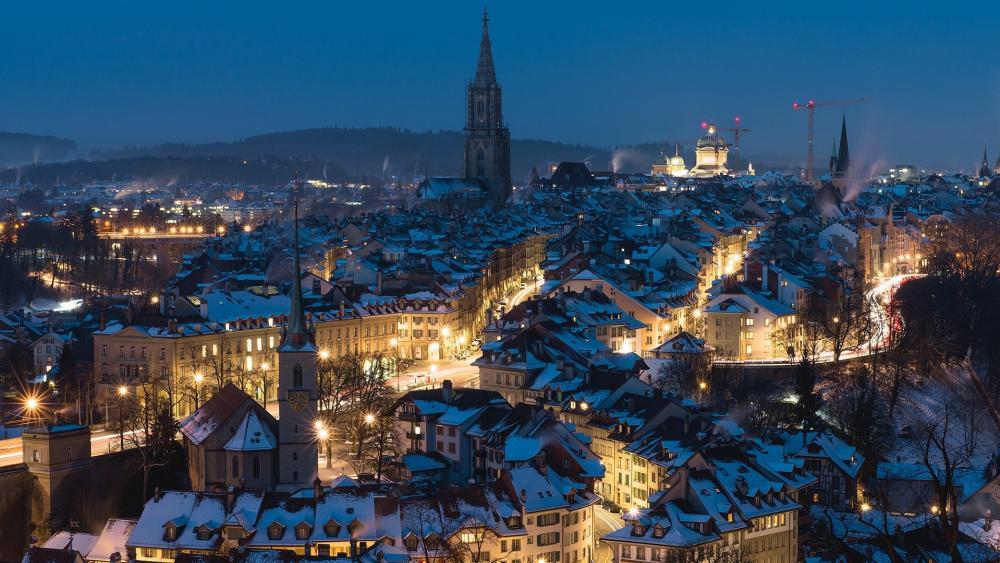 Winter night in Bern wallpaper