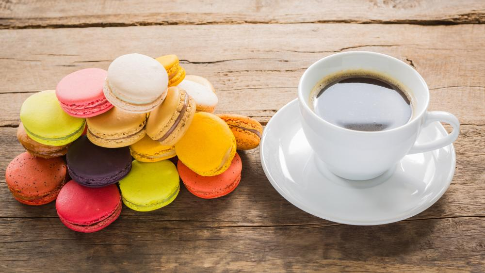 Coffee with Macaroon wallpaper