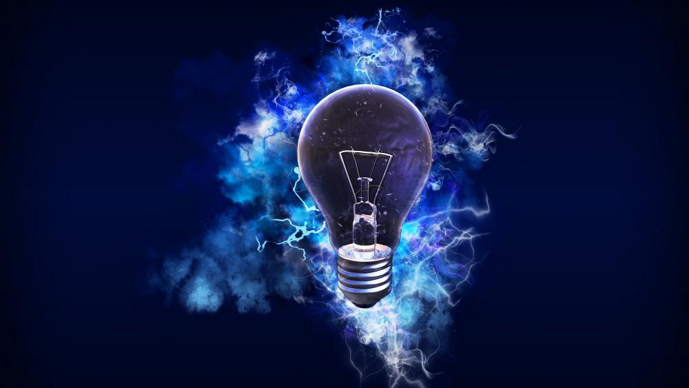Blue lightbulb wallpaper