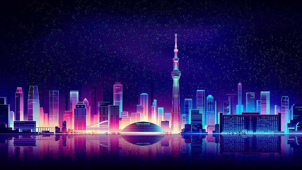 Starry night sky above a neon city wallpaper