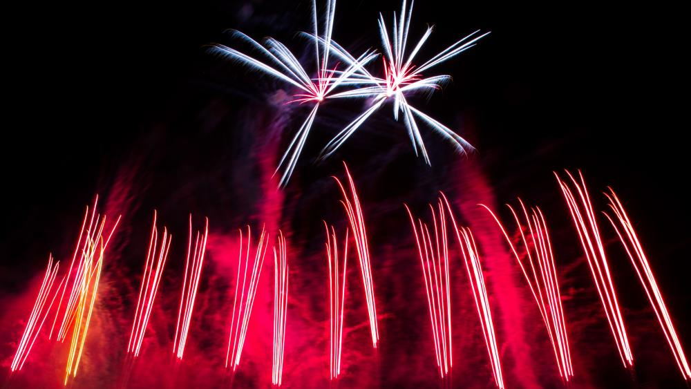 Long-Exposure Photo of Fireworks wallpaper