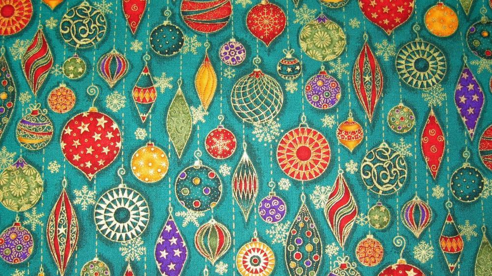 Colorful Christmas balls pattern wallpaper