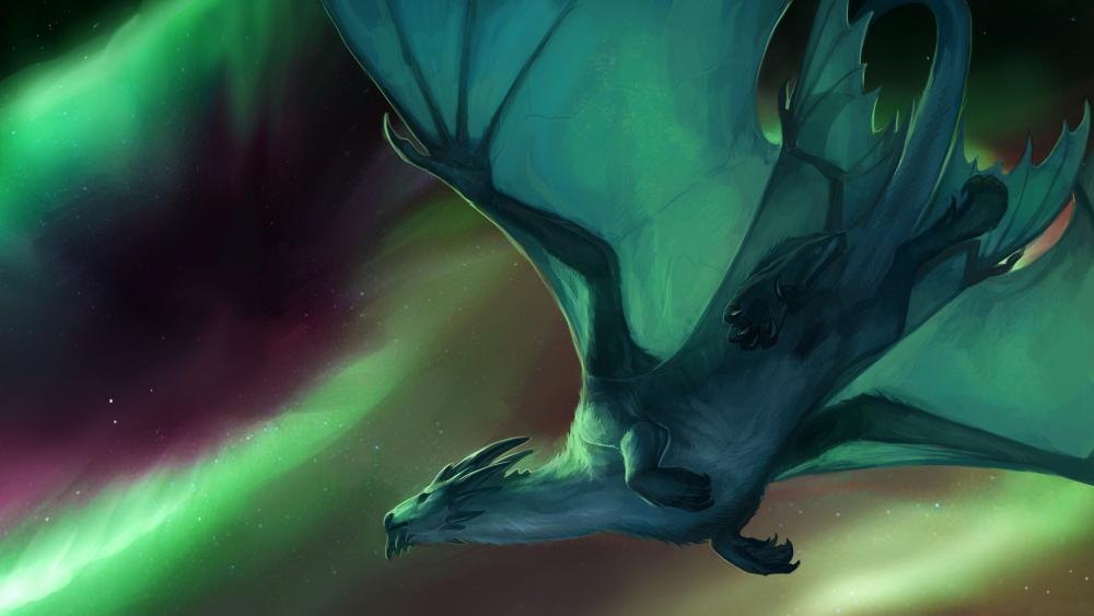 Flying dragon under the green polar lights wallpaper