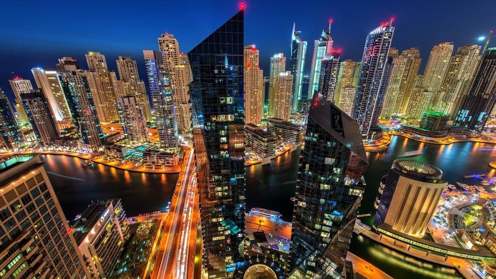 Dubai skyscrapers at night wallpaper