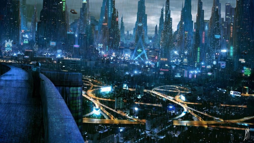 Rainy Futuristic city - Scifi art wallpaper