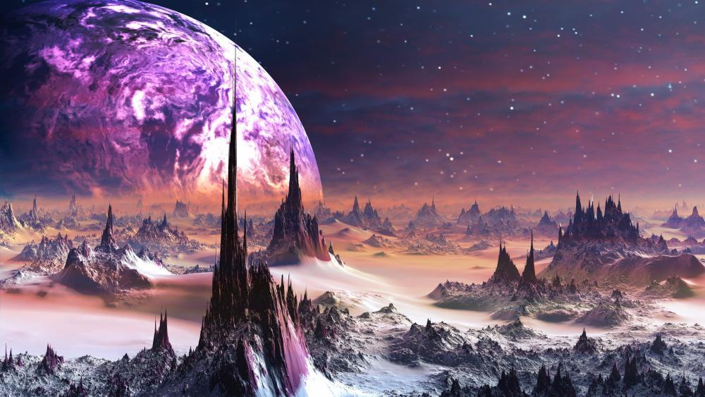 Spiky scifi planet landscape wallpaper