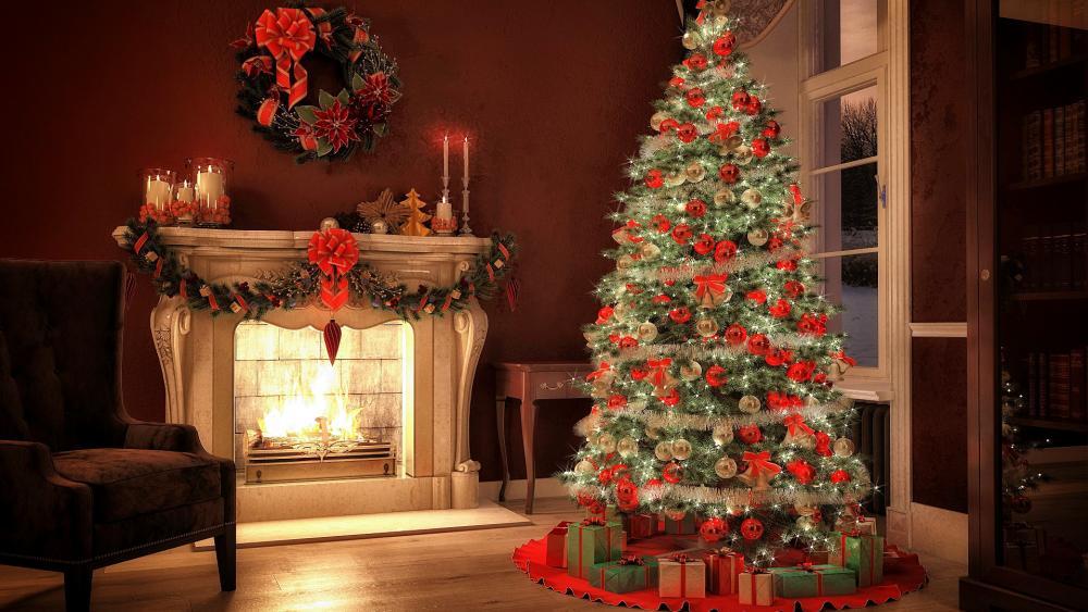 Christmas tree near the fireplace wallpaper