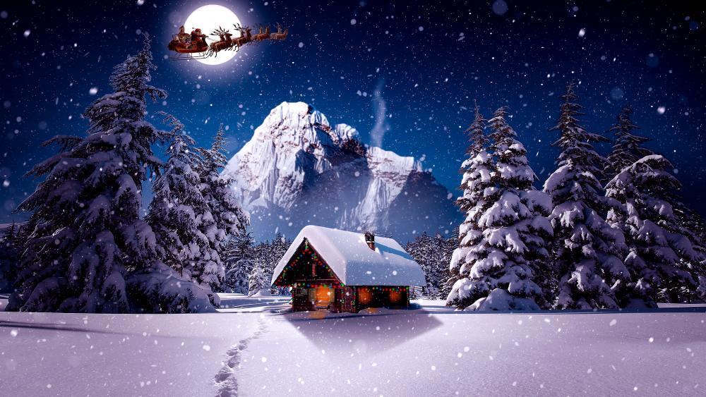 Santa's sleight on the night sky wallpaper