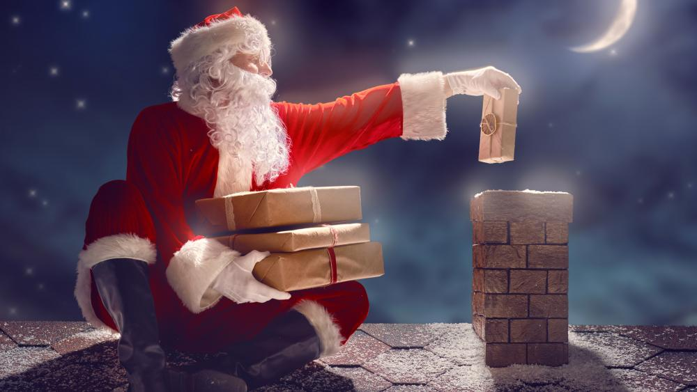 Santa on the rooftop wallpaper