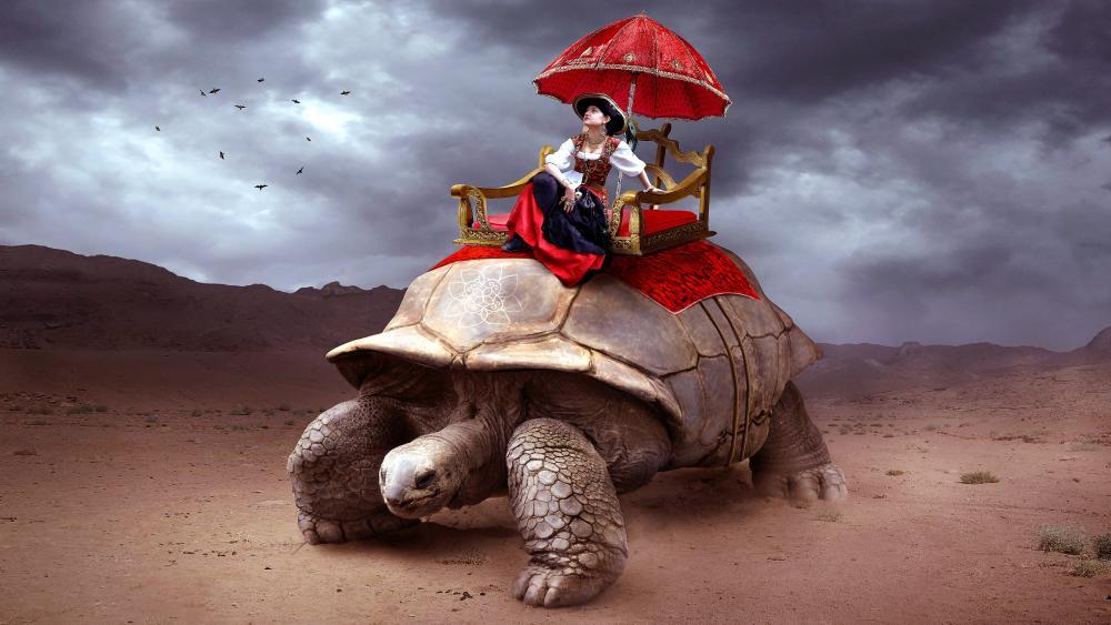 Tortoise Caravan fantasy photography manipulation wallpaper