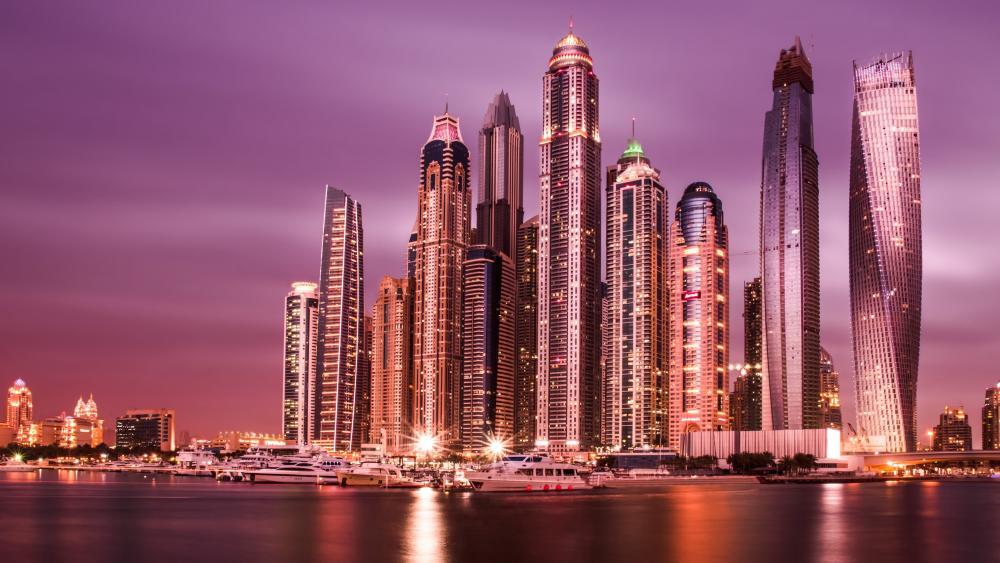 Purple dusk at Dubai wallpaper