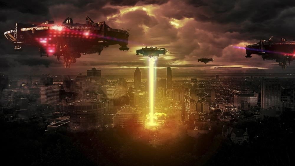Alien /UFO Formation over the City wallpaper
