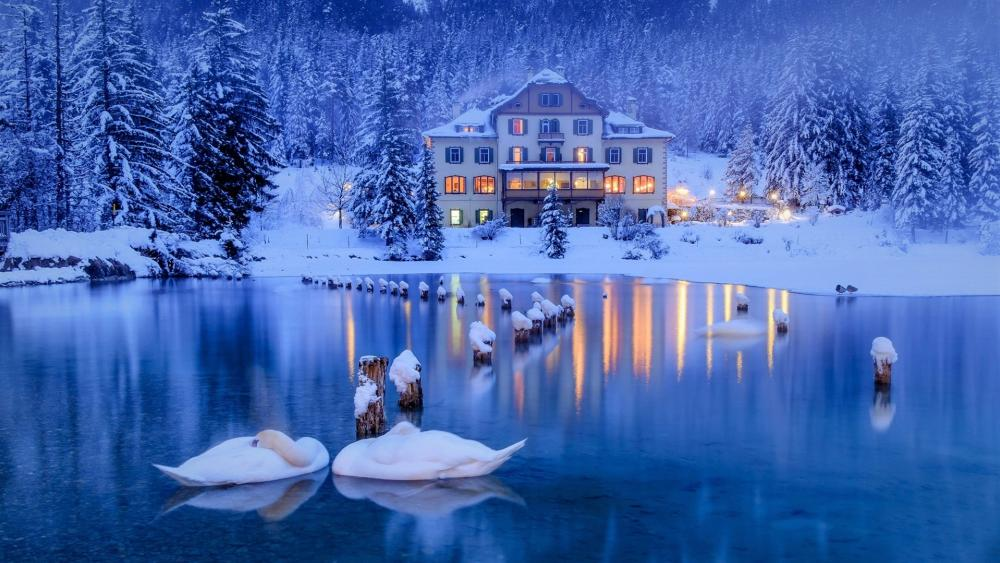Lakeside house in the snowy forest wallpaper