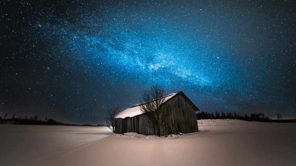 Milky way  over the snowy hut 🌌 wallpaper