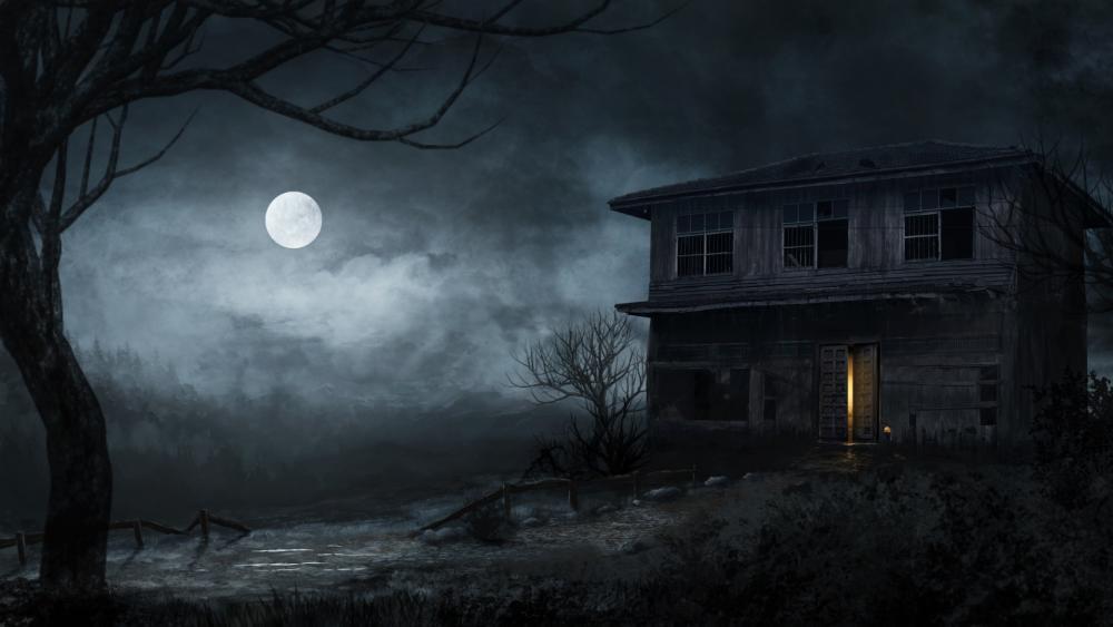 Abandoned haunted house at full moon wallpaper