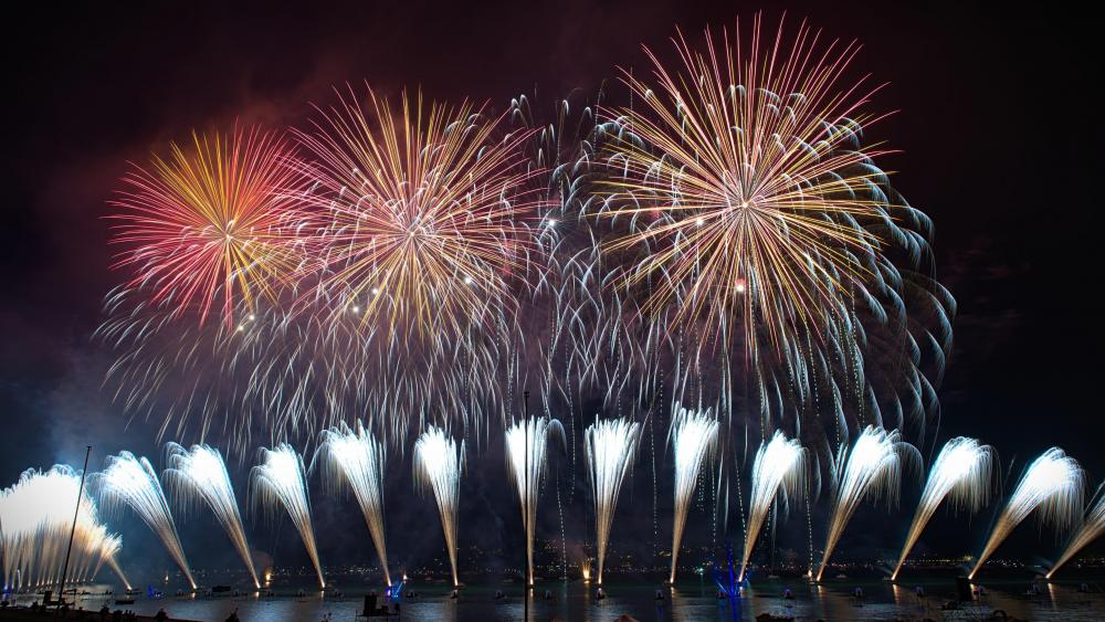 Fireworks on Display in Annecy wallpaper