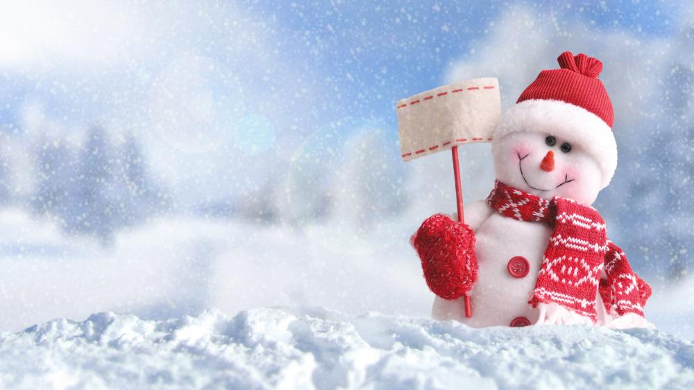 Snowman in hat and scarf wallpaper