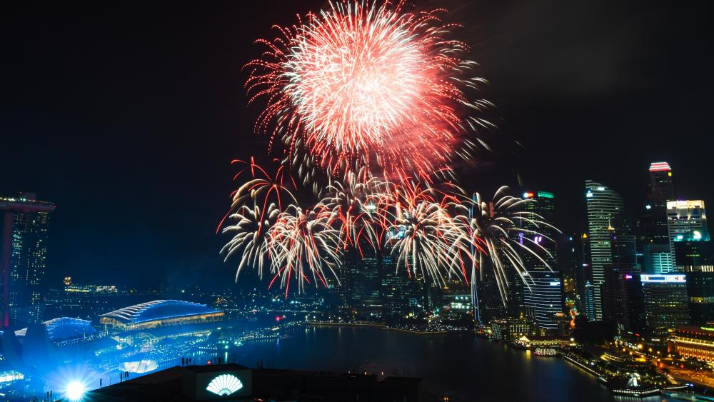 Fireworks Over Marina Bay wallpaper