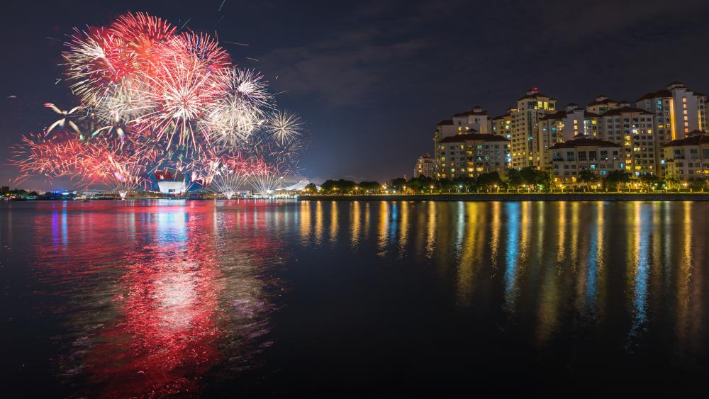 Water Reflection of Fireworks wallpaper
