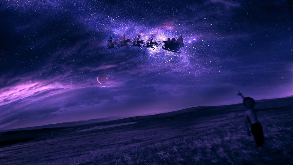 Santa's sled on the night sky wallpaper