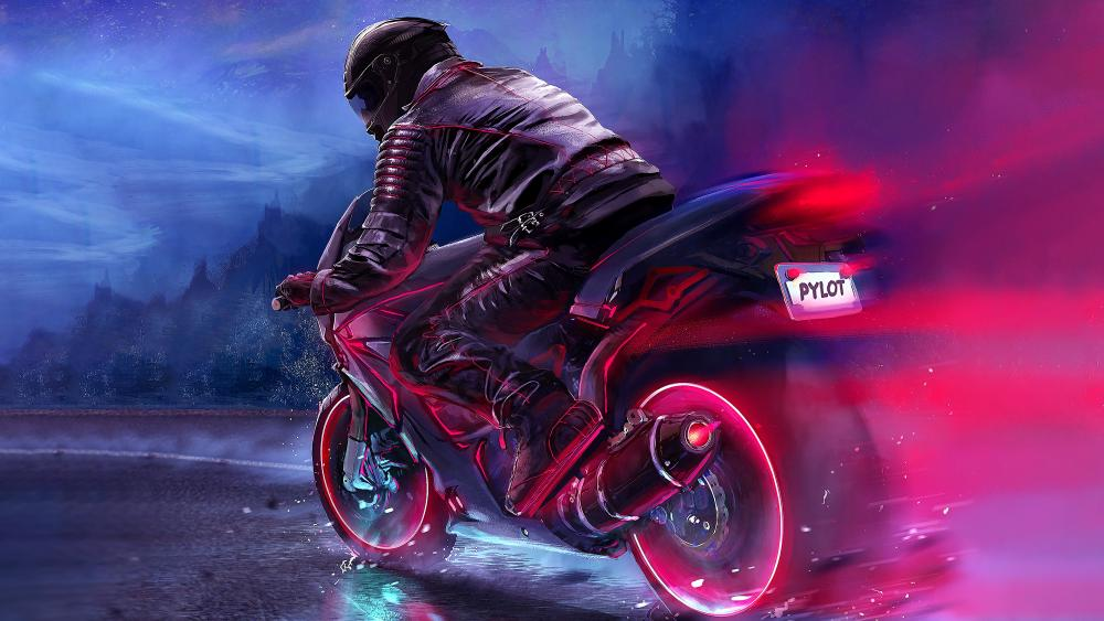80's synthwave motorcycle wallpaper