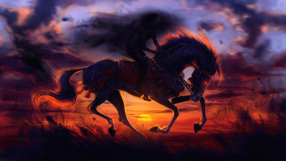 Evil horse in the sunset wallpaper