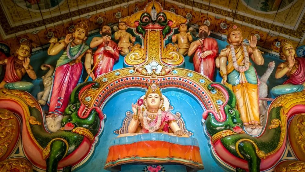 Buddhist temple Sri Lankan style wallpaper