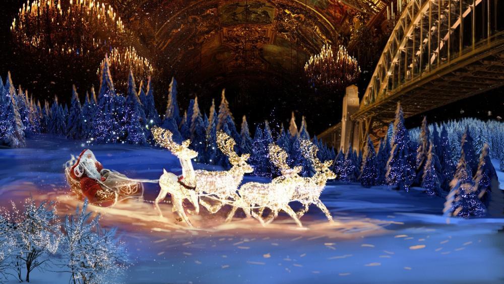 Santa Claus sledge wallpaper