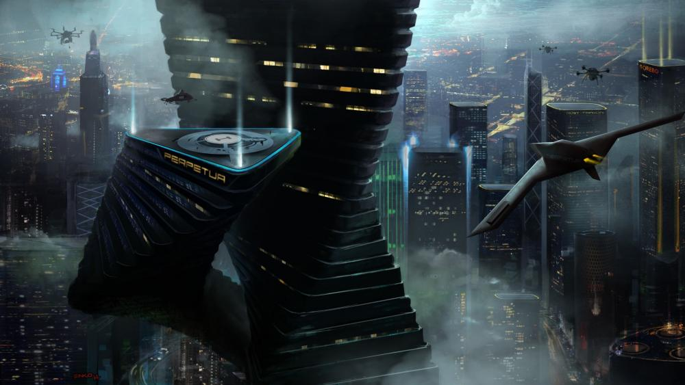 Sci-fi megapolis wallpaper