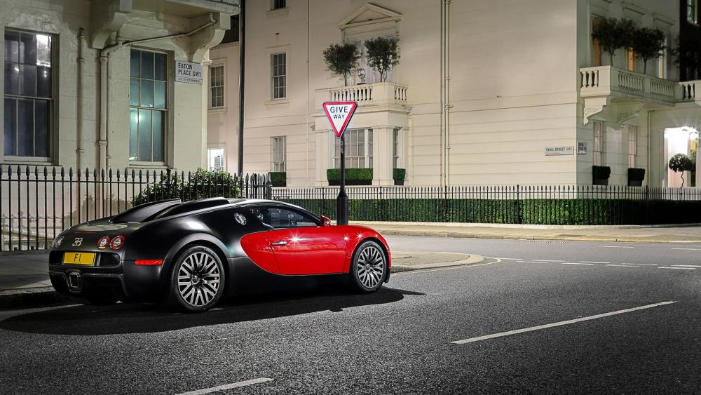 Bugatti Veyron on the street wallpaper