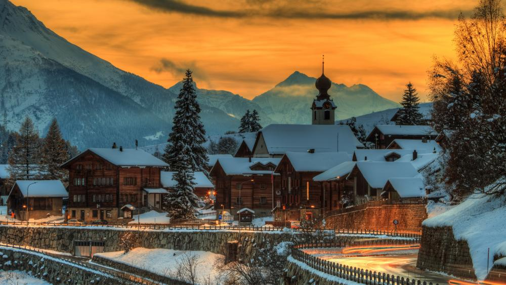 Blitzingen in winter season (Switzerland) wallpaper