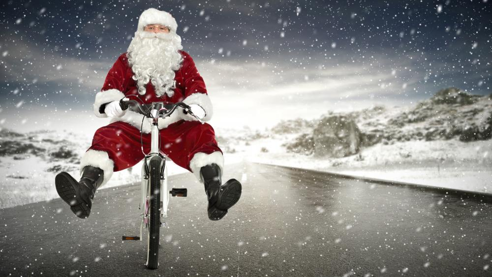 Cyclist Santa Claus wallpaper
