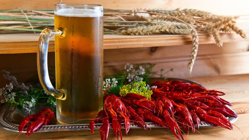 Crawfish with beer wallpaper