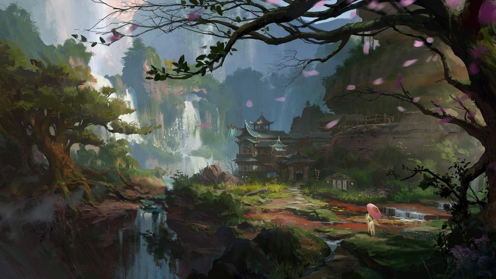 Asian landscape painting art wallpaper