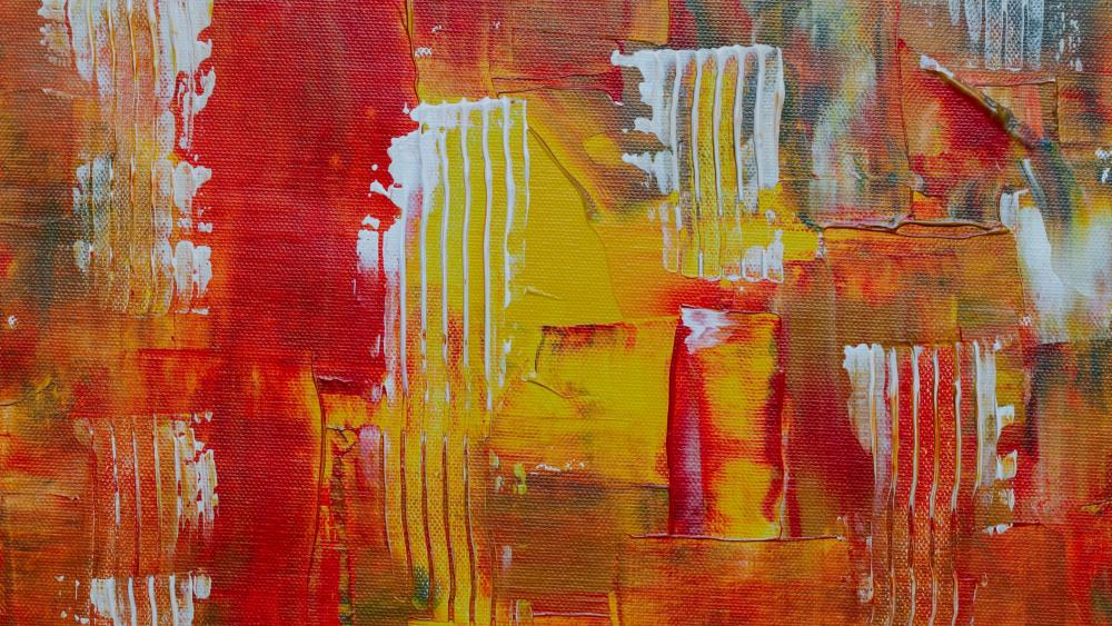 Orange abstract painting wallpaper