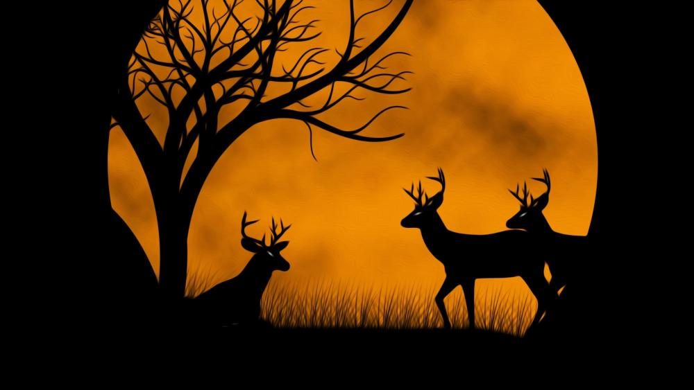 Deers at moonrise wallpaper
