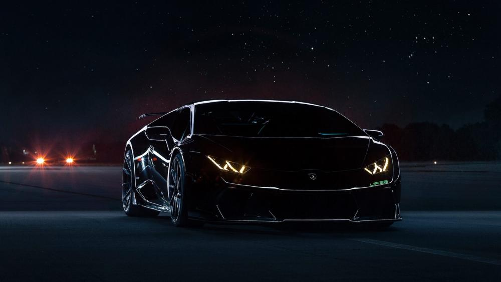Black Lamborghini Huracan at night wallpaper