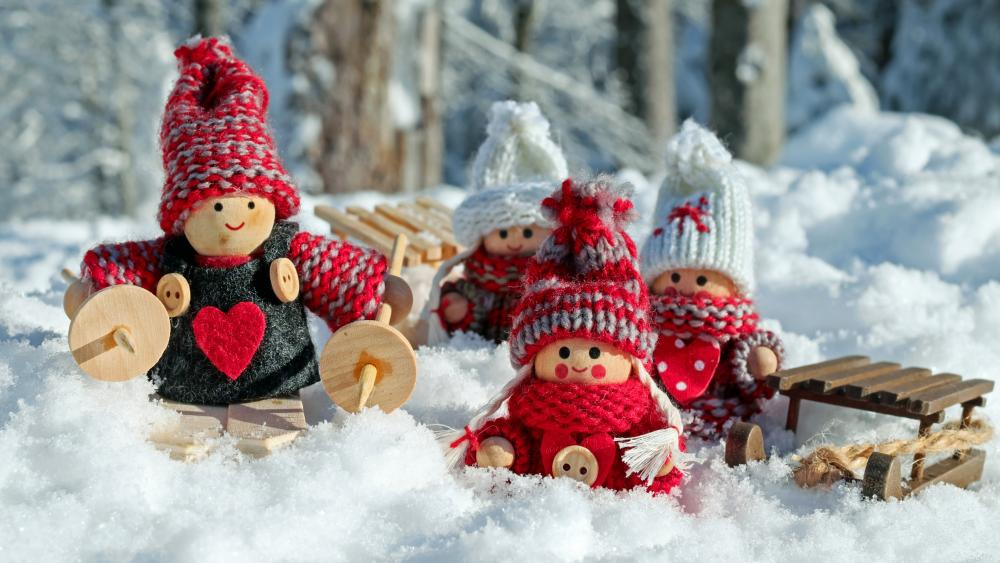 Toy dolls winter activities wallpaper