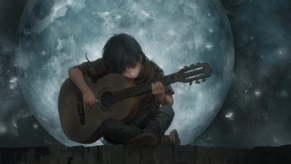 Music in the moonlight wallpaper